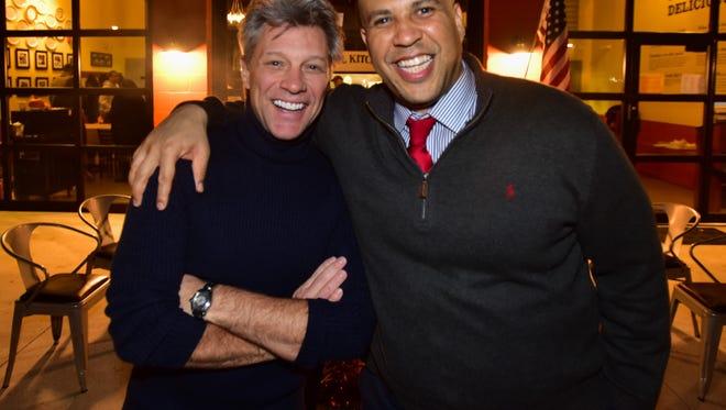 Jon Bon Jovi and Sen. Cory Booker at the JBJ Soul Kitchen on Wednesday, Nov. 25.