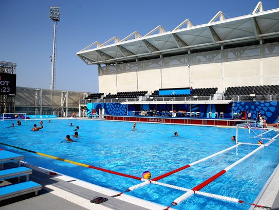 Athletes train at the water polo venue June 11, 2015,