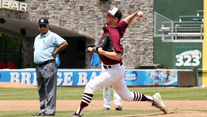 The Albertus Magnus Falcons pitcher James Reilly earned MVP in the team's 3-2 victory over the Keio Unicorns in 14 innings in the Class B sectional final held Provident Park in Pomona on Saturday, May 30, 2015.