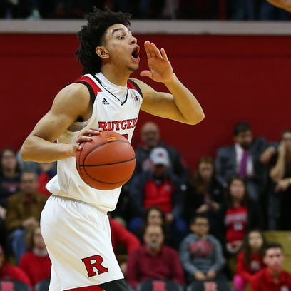 Rutgers guard Geo Baker brings up the ball vs. CCNY.