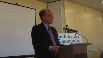 Bruce Bradley, Chairman of the Hampton Roads Community Foundation, was the keynote speaker at an event for volunteers with the Eastville Community Health Center capital campaign on Wednesday, March 22, 2017 in Melfa, Virginia.