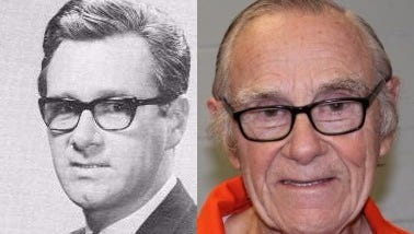 Frank John Selas circa his time at KNOE-TV in the late 1970s (left) and in his booking mugshot from 2016.