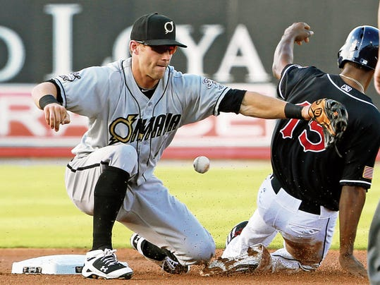VICTOR CALZADA-EL PASO TIMES Chihuahuas baserunner Melvin Upton, Jr. slides safely into second as Omaha's Dusty Coleman couldn't come up with a low throw on the steal attempt.