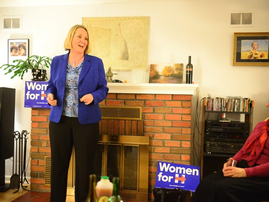 Stephanie Schriock, president of national Democratic women's organization EMILY's List, speaks to Hillary Clinton supporters in Burlington on Wednesday evening.