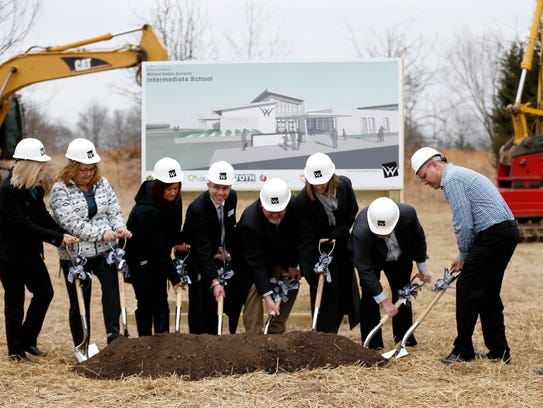 Willard school officials break ground on the district's second Intermediate School near the intersection of Mt. Vernon Street and South Miller Avenue in West Springfield on Tuesday, Feb. 13, 2018.