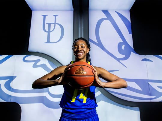 University of Delaware women's basketball forward Alecia Bell poses for a portrait at the Bob Carpenter Center in Newark on Tuesday afternoon.