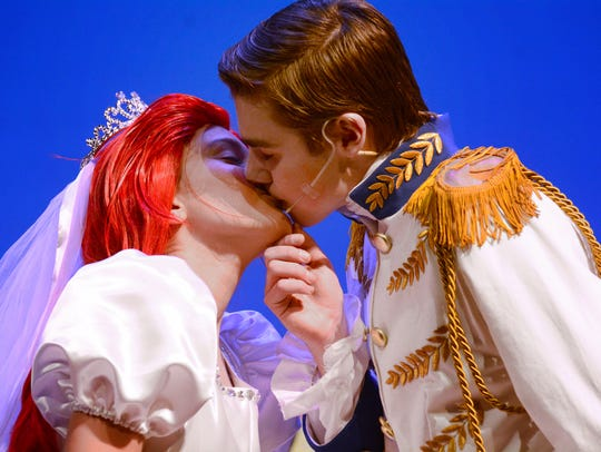 Ariel, played by Anneliese Reichart, kisses Prince