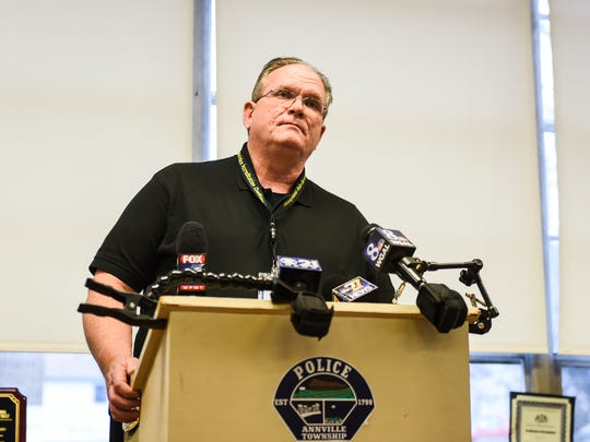 Annville Township Police Chief Bernard Dugan addresses the media at a press conference on Tuesday, Jan. 24, 2017 about allegedly racist remarks made by an employee of Just Wing It to two patrons early Sunday morning, Jan. 22, 2016.
