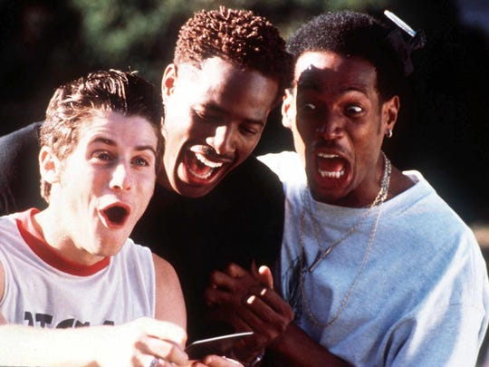 """-  -FOR IMMEDIATE RELEASE--From left: Jon Abrahams, Shawn Wayans, and Marlon Wayans appear in a scene from the Dimension Films' spoof """"Scary Movie,"""" opening in theaters on Friday, July 7, 2000. (AP Photo/Dimension Films)"""