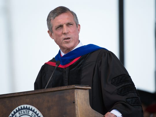 Governor of Delaware John Carney gives his remarks at the Delaware State University 132nd commencement ceremony where more than 700 graduates took part.
