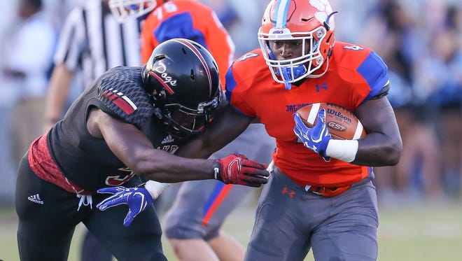 Brandon's Corey Proctor (5) brings down Madison Central's Gabe Short (4) in last week's game. No. 1 Brandon hosts No. 2 Clinton while Madison Central  hosts Oxford this week.