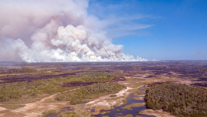 Wildfire smoke seen at Picayune Strand State Forest on Monday, March 5, 2018.