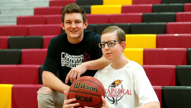 Chaparral senior guard Colten Kresl, 17, left, says his older brother, Logan, 21, is his inspiration. Logan was diagnosed with a golfball size brain tumor when he was seven years old.