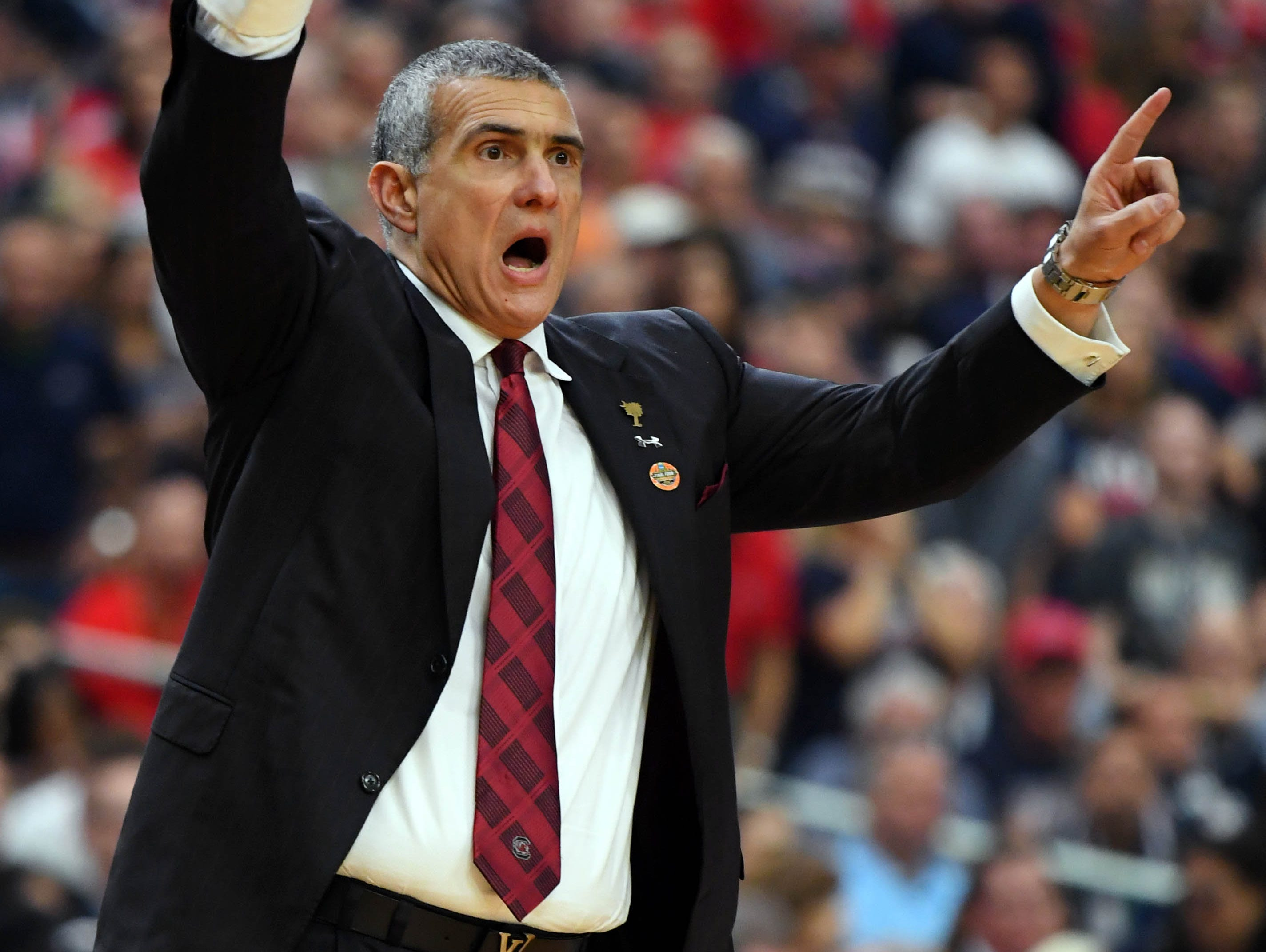 South Carolina Gamecocks head coach Frank Martin reacts during the second half against the Gonzaga Bulldogs in the semifinals of the 2017 NCAA Men's Final Four at University of Phoenix Stadium.