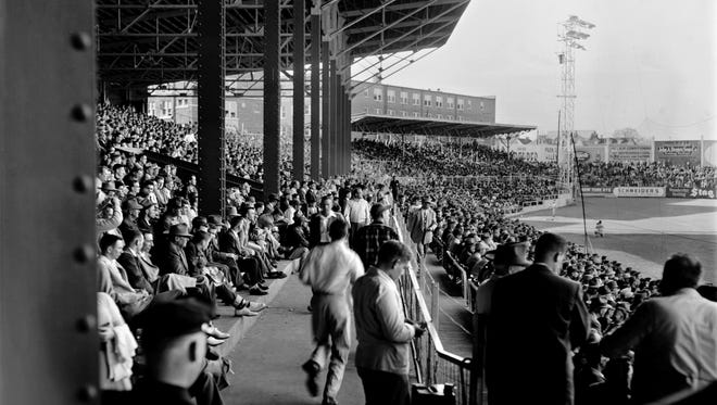 Russwood Park April 8, 1954 during a game between the Chicago White Sox and the St. Louis Cardinals. The White Sox won 6-2 and Minnie Minoso of the White Sox became the first African-American player to compete with whites in Memphis.