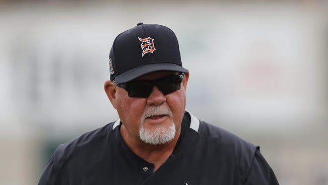 FILE - In this March 5, 2020, file photo, Detroit Tigers manager Ron Gardenhire watches during a spring training baseball game in Lakeland, Fla. Gardenhire announced his retirement prior to Detroit's game against the Cleveland Indians on Saturday, Sept. 19,2020.