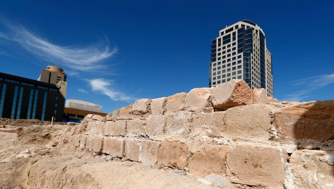 Archaeologists unearthed a foundation from the city's first fire station at the site of a downtown grocery store on First Street between Washington and Jefferson streets on March 30, 2017, in Phoenix. The site was previously home to the city's first city hall, the Fox Theatre and a J.C. Penney store.