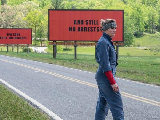 "Frances McDormand stars in ""Three Billboards Outside Ebbing, Missouri."""