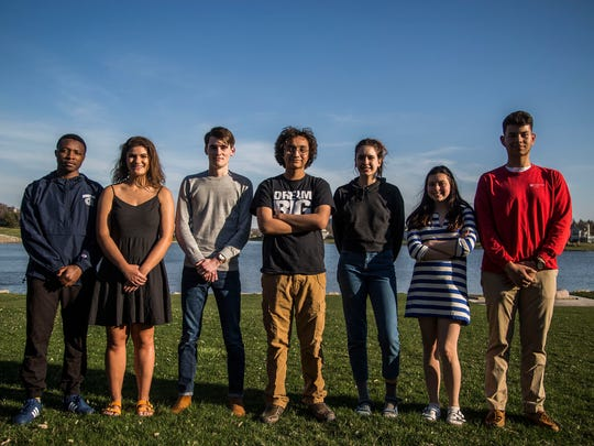 (L to R) Robert Nishimwe, senior at North High School, Leigh Carlson, senior at Roosevelt High School, Noah Percy, senior at Norwalk High School, Fez Zafar, sophomore at Roosevelt High School, Anna Van Heukelom, senior at Roosevelt High School, Isabella OÕConnor, junior at Roosevelt High School and Alejandro Zarate, senior at East High School represent the group of students organizing a national movement called The American Iftar Dinner to recognize religious, ethnic, and cultural diversity in communities across the country, photographed together on Monday, April 23, 2018, in Clive.