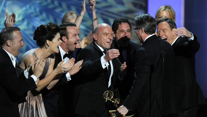 """The cast of """" Breaking Bad"""" celebrates at the Emmy Awards in Los Angeles on Sept. 22."""