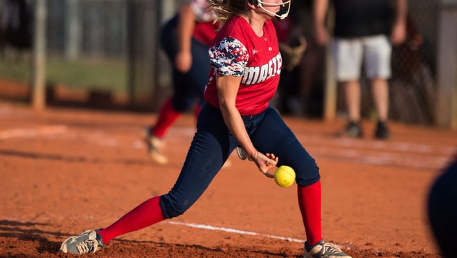 Master's Academy's Chloe Fowler, seen pitching against Vero Beach last month, scattered six hits, struck out 11 and went 3 for 3 Tuesday, May 8, 2017, as the Patriots defeated Mount Dora Christian 5-1 in the Region 2-2A final at Mount Dora.