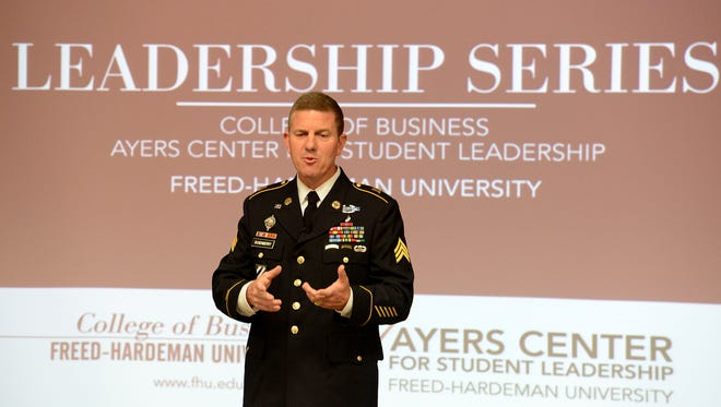 James Dusenberry speaks to Freed-Hardeman University students during the College of Business' Leadership Series on Tuesday. Dusenberry spoke on the topic 'Leadership: A Call to Service.'