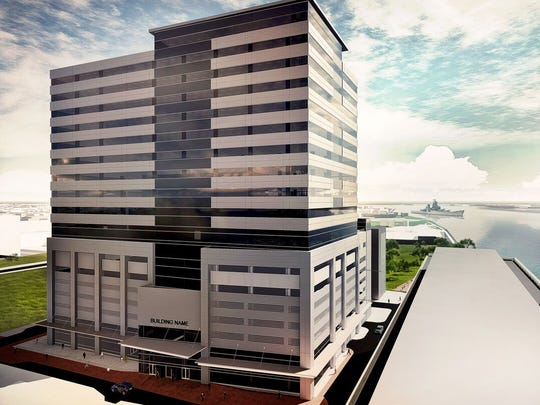 Three suburban firms plan to share a headquarters building to rise on Camden's Waterfront.