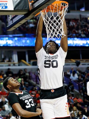 Caleb Swanigan dunks in the McDonald's All-America game in Chicago on April 1, 2015.