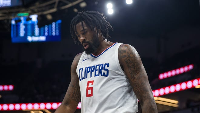 Los Angeles Clippers center DeAndre Jordan (6) looks on during the third quarter against the Minnesota Timberwolves at Target Center.