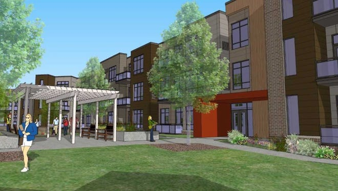 An artist rendering of the Greenbelt Apartments in Greendale. The rendering is of the first phase, which is nearing completion.