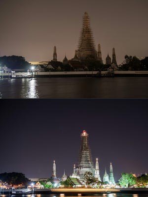 This combination of pictures created on March 25, 2017 shows the main structure at the Wat Arun temple in Bangkok stands with its lights switched off (up) for the Earth Hour environmental campaign in Bangkok on March 25, 2017.