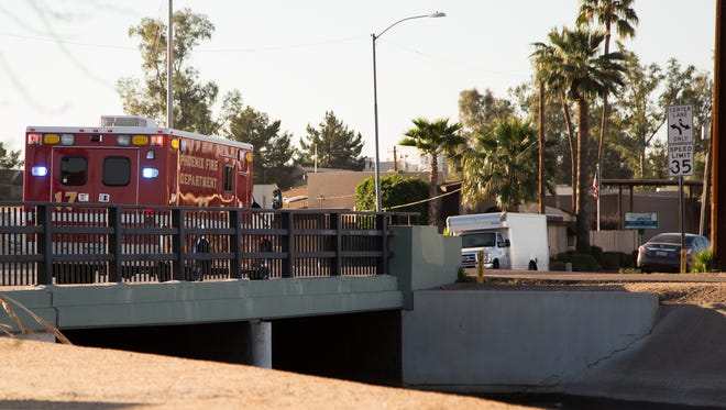 A man described to be in his 50s is at the hospital in stable condition after being rescued from the Phoenix Grand Canal at 16th Street on Friday morning by a homeless veteran and other bystanders waiting for a bus.