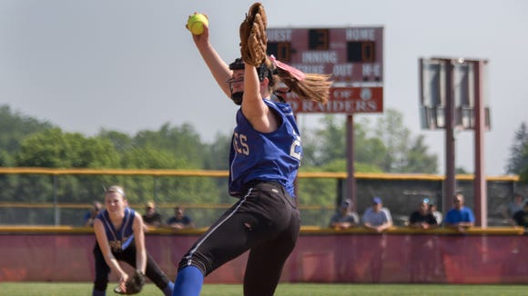 Emily Turilli of Pearl River winds up for a pitch during the Section 1 Class A final at North Rockland High School in Thiells on Saturday.