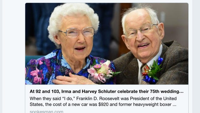 Harvey and Irma Schluter have been married for 75 years.