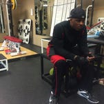 Free agent Jermichael Finley sits in the training room at WelleFast Elite Sports Training in Maple Grove, Minn.