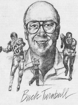 An illustration of Buck Turnbull from an 1993 article announcing his retirement.
