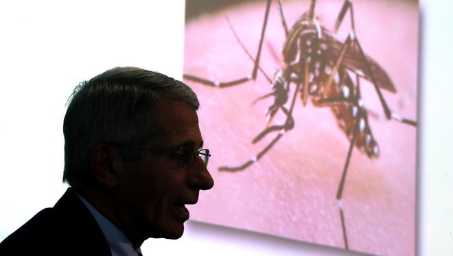 Dr. Anthony Fauci of the National Institutes of health gives a presentation about the Zika virus at the Georgetown University Law Center on Aug. 31.