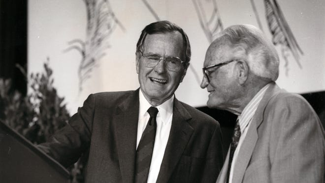 George H. W. Bush with Barry Goldwater during a fundraiser for John McCain at the Phoenix Civic Plaza in May 1992.