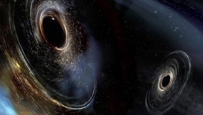 Artist's conception shows two merging black holes similar to those detected by LIGO.