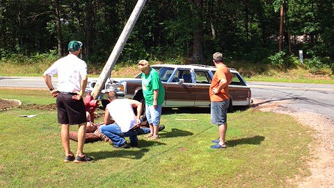 A station wagon drove into a telephone pole in the village of Kronenwetter.