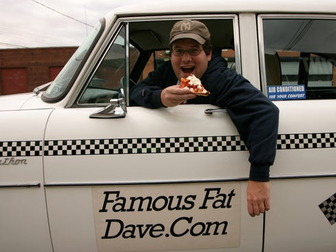 Famous Fat Dave Freedenberg, former pickle man, cheesemonger, bread truck driver, and hot dog vendor and current licensed tour guide and cabbie, uses his white Checker named Sweetness to ferry hungry New Yorkers and tourists alike all over the entire