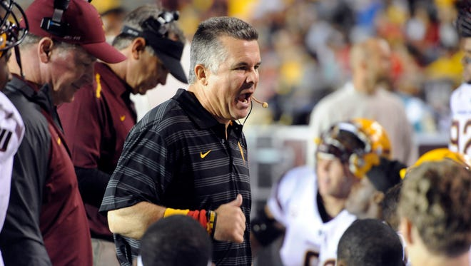 Arizona State Sun Devils head coach Todd Graham during the second half against the New Mexico Lobos at University Stadium. Arizona State won 58-23.