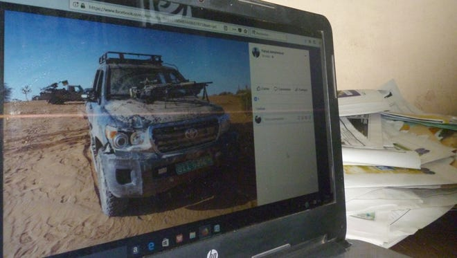 A Facebook post by the Tuareg militia in Mali claims to show a vehicle used by U.S. soldiers who were killed in neighboring Niger in October 2017. This photo was taken April 20, 2018.