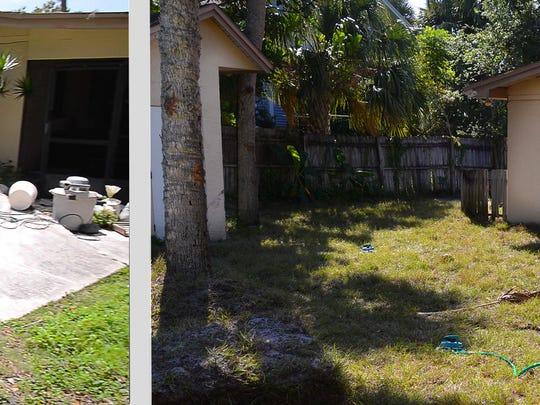 Photo on the left shows Caramarie Benevour's back yard