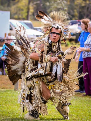 Cody Coe, of Dakota Sioux and Northern Ute heritage from South Dakota, danced during the Santa Rosa County Creek Indian Tribe's 27th annual Pow Wow in Milton in  2017. This year's Pow Wow takes place Nov. 17-18.