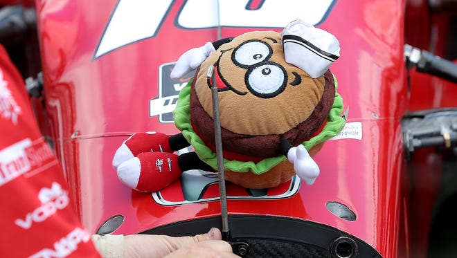 A stuffed Steak-n-Shake steak burger on the nose of Rahal Letterman Lanigan Racing's Graham Rahal (15) during practice for the 2015 Indianapolis 500.