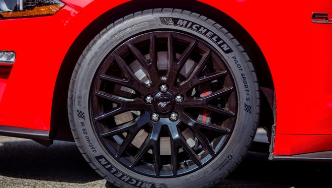 The 2018 Mustang GT adds Michelin performance tires.