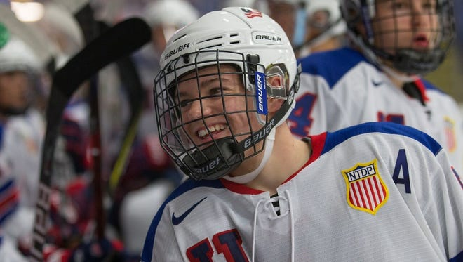 Cole Caufield has had plenty to smile about so far this season for the USA Hockey NTDP Under-17 team.