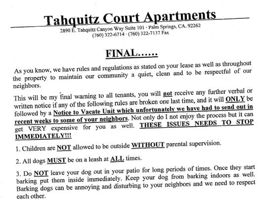 A notice posted in Tahquitz Court Apartments barring children from playing outside without supervision. A landlord now says this notice was not a set of rules.