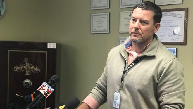 Cheatham County Sheriff's Office Lt. Shannon Heflin details the Jan. 3 arrest of two suspects connected to a Jan. 2 bank robbery in Pegram at a press conference Thursday.